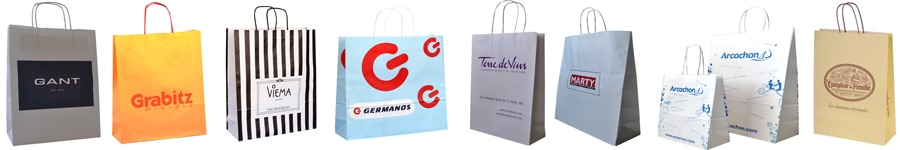 twisted handle white kraft paper bags with printed logo