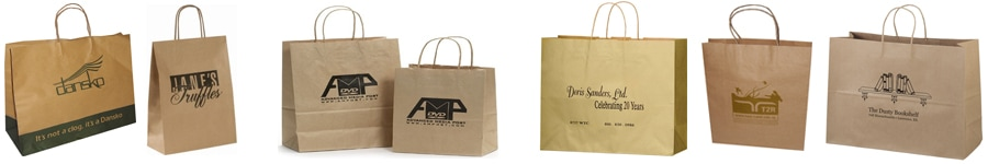 twisted handle brown kraft paper bags with printed logo
